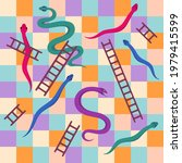 snakes and ladders. kids dice...   Shutterstock .eps vector #1979415599