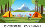 camping tent near the lake and...   Shutterstock .eps vector #1979420216