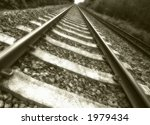 old train track leading nowhere - stock photo