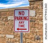 Square No Parking Sign At A...