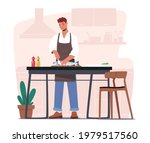 male character cooking seafood. ... | Shutterstock .eps vector #1979517560