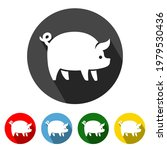 pig flat icon long shadow. pig...   Shutterstock .eps vector #1979530436