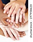 many hands of children stacked... | Shutterstock . vector #197958620