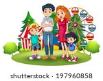 illustration of a family at the ... | Shutterstock .eps vector #197960858