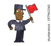 cartoon man waving flag | Shutterstock .eps vector #197961560