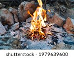 campfire burning in the wild... | Shutterstock . vector #1979639600