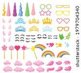 cartoon unicorn elements vector ... | Shutterstock .eps vector #1979704340