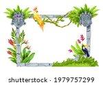 jungle forest frame  vector...