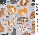 Cats Seamless Pattern. Cute Cat ...