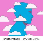 man's head in the clouds.... | Shutterstock .eps vector #1979810243