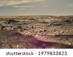 yellow sand shining in the sun, grey sky, landscape. High quality photo