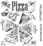 hand drawn pizza with... | Shutterstock .eps vector #197985764