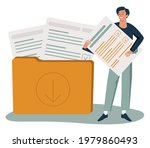 man putting letter or mail into ...   Shutterstock .eps vector #1979860493