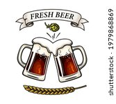 two toasting beer mugs  barley...   Shutterstock .eps vector #1979868869