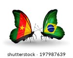 two butterflies with flags on... | Shutterstock . vector #197987639