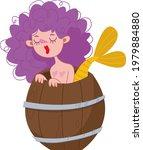 curly mermaid with purple hair. ...   Shutterstock .eps vector #1979884880