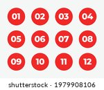 flat red vector number bullet...