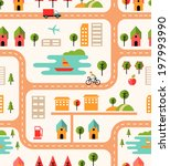 city map seamless background... | Shutterstock . vector #197993990