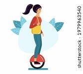woman rides a mono wheel. girl...   Shutterstock .eps vector #1979963540