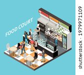 food court coffee bar isometric ...   Shutterstock .eps vector #1979971109