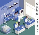 genetic engineering isometric... | Shutterstock .eps vector #1979971133