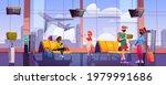 travelers in airport waiting... | Shutterstock .eps vector #1979991686