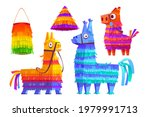 mexican pinatas donkey and... | Shutterstock .eps vector #1979991713