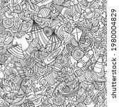 cartoon doodles summer seamless ... | Shutterstock .eps vector #1980004829