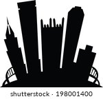 Cartoon skyline silhouette of the city of Pittsburgh, Pennsylvania, USA. - stock vector
