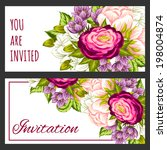 set of invitations with floral... | Shutterstock . vector #198004874