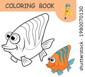 coloring book with funny orange ...   Shutterstock .eps vector #1980070130