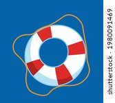 red lifebuoy on a blue...   Shutterstock .eps vector #1980091469