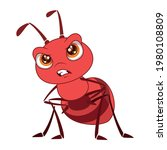 little red ant is angry.cartoon ... | Shutterstock .eps vector #1980108809