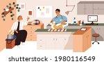 veterinarian doctor  dog and... | Shutterstock .eps vector #1980116549