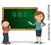 pupil and teacher with his wand ... | Shutterstock .eps vector #198014546