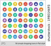 set of 56 shopping icons in... | Shutterstock . vector #198014693
