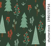 seamless pattern with spruce ... | Shutterstock .eps vector #1980151916