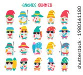 gnomes summer. gnomes wear hats ... | Shutterstock .eps vector #1980161180