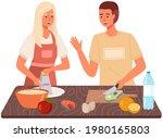 couple preparing salad. proper...   Shutterstock .eps vector #1980165803