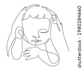 continuous line mother hands...   Shutterstock .eps vector #1980284660