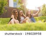selfie photo.3 pretty woman... | Shutterstock . vector #198028958