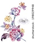 watercolor illustration flowers ... | Shutterstock . vector #198029948