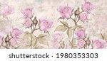 Drawn Vintage Roses On Texture...