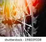 part of mountain bike on rocky...   Shutterstock . vector #198039338