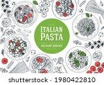 italian pasta frame. hand drawn ... | Shutterstock .eps vector #1980422810