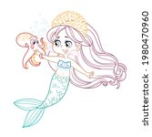 cute little mermaid girl in... | Shutterstock .eps vector #1980470960