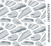 salmon seafood pattern  ink...   Shutterstock .eps vector #1980475799