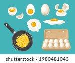 set of white chicken eggs.... | Shutterstock .eps vector #1980481043
