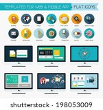 flat icons for web and mobile... | Shutterstock .eps vector #198053009