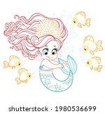 cute little mermaid girl in... | Shutterstock .eps vector #1980536699